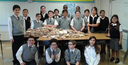 Students With Sandwiches and Juice Boxes for St. John's In Newark